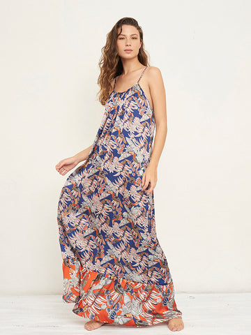 Melly Navy Print Maxi Dress