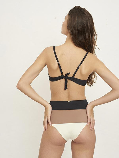 Mezt Underwire Brown Color Block Top