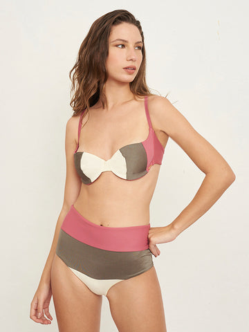 Mezt Underwire Pink Color Block Top