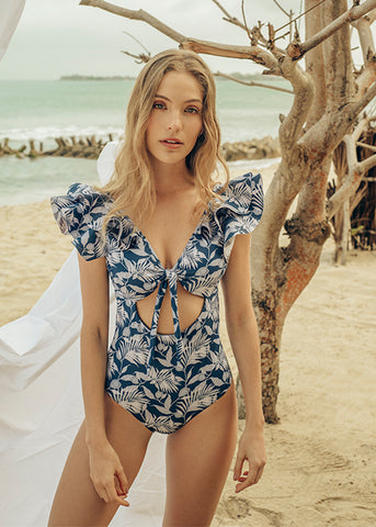Odette Deep Blue Leaves One Piece
