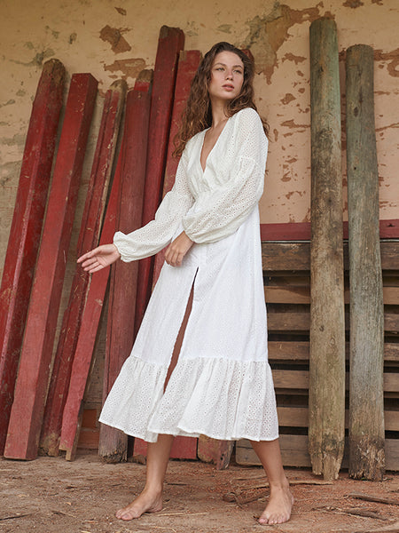 Sicilia Solid Ivory Long Dress