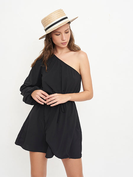 Village Solid Black Short Dress