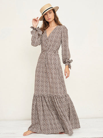 Zain Jungle Print Long Dress