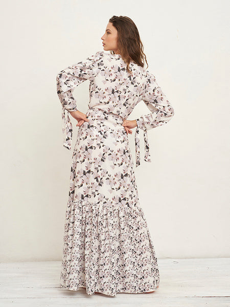 Zain Orchid Print Long Dress