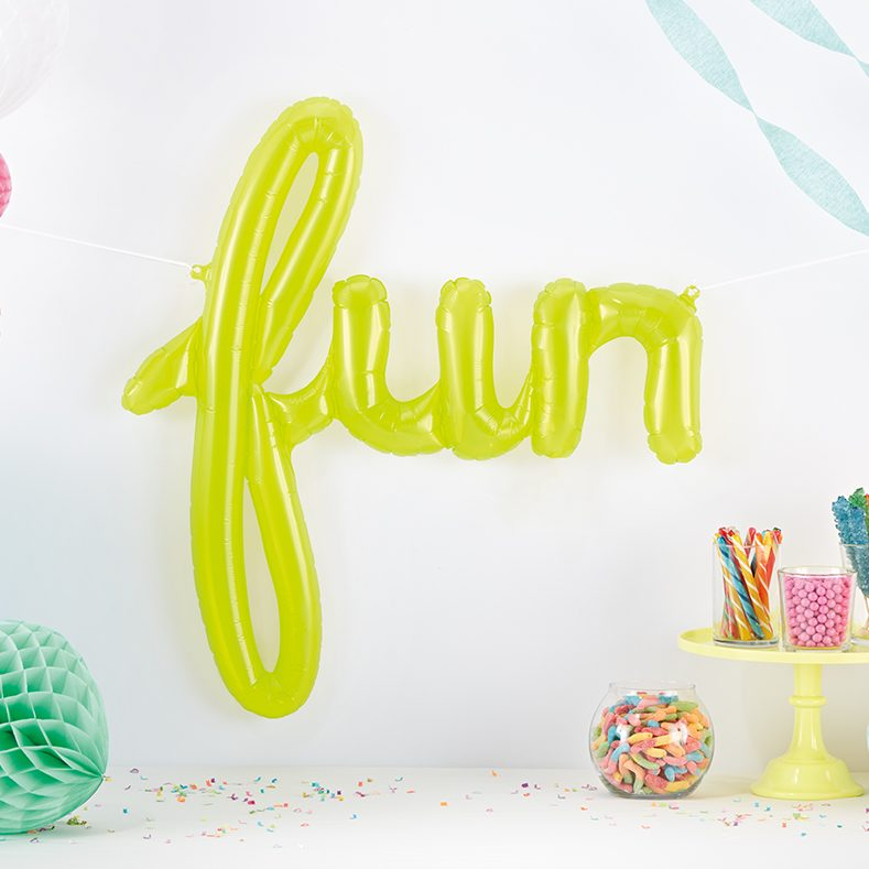 neon fun script balloon