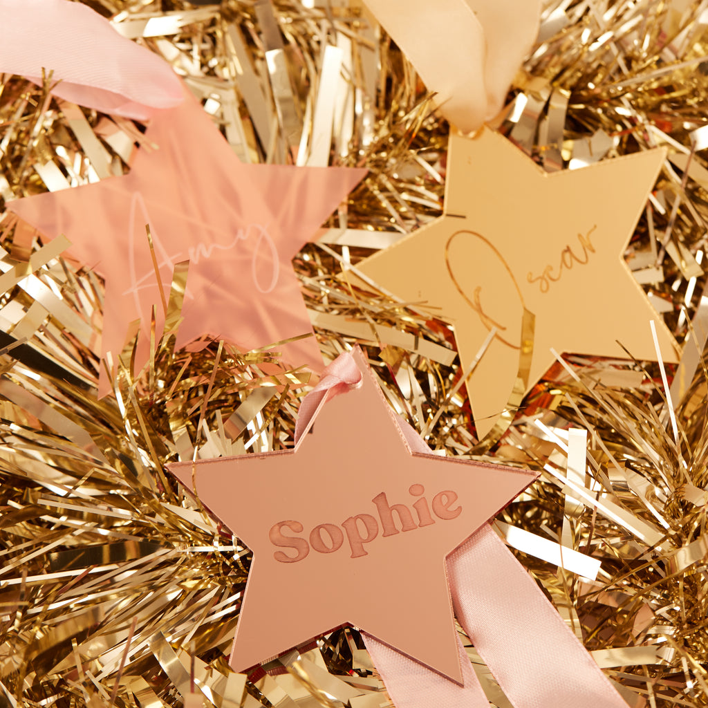Personalised Christmas Star Hanging Decoration