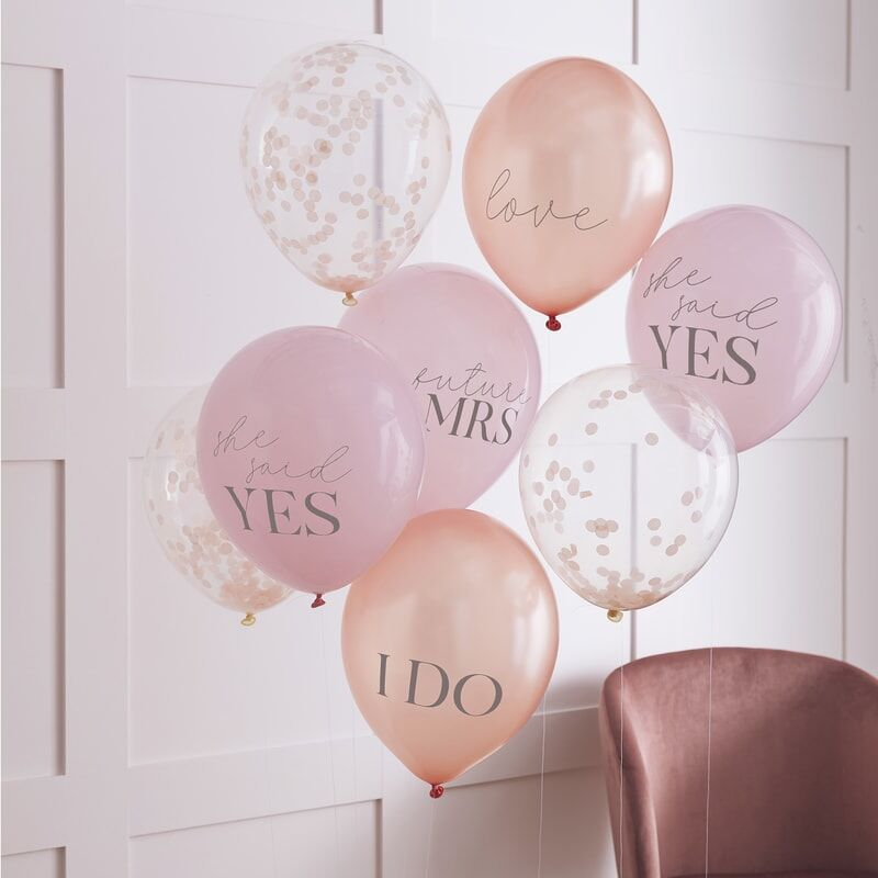 Mixed Hen Party Blush & Confetti Balloons