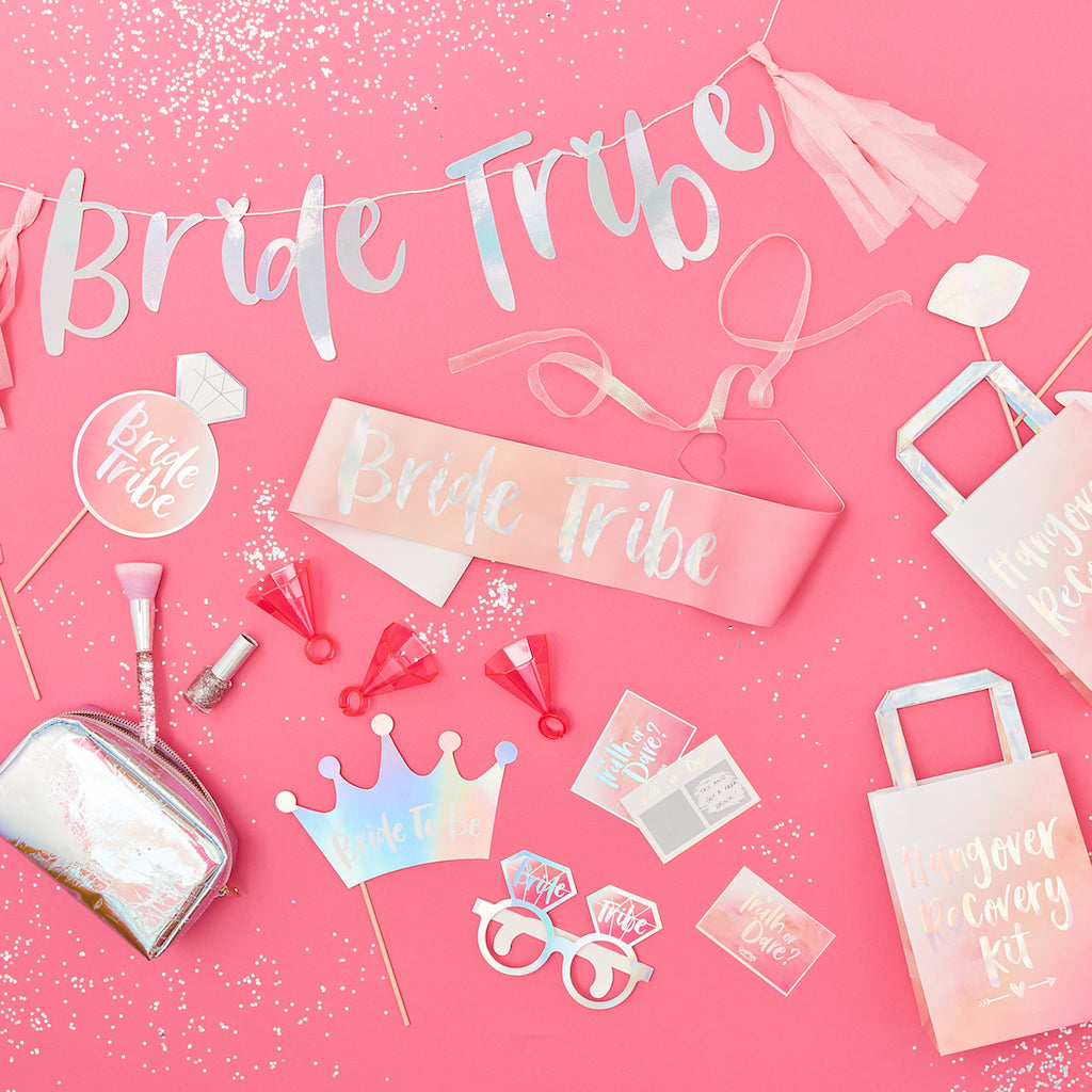 Pink & Iridescent Bride Tribe Hen Balloons