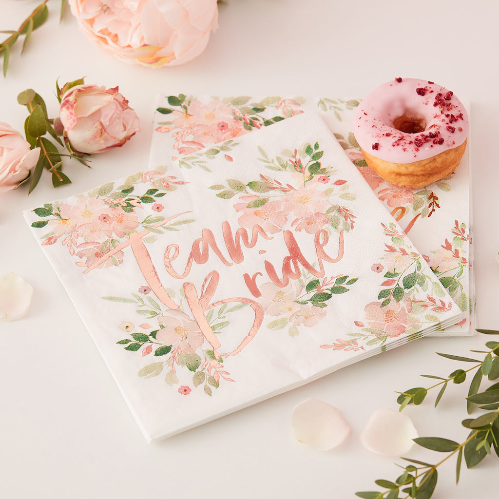 Team Bride Floral Paper Napkins - Floral Hen Party