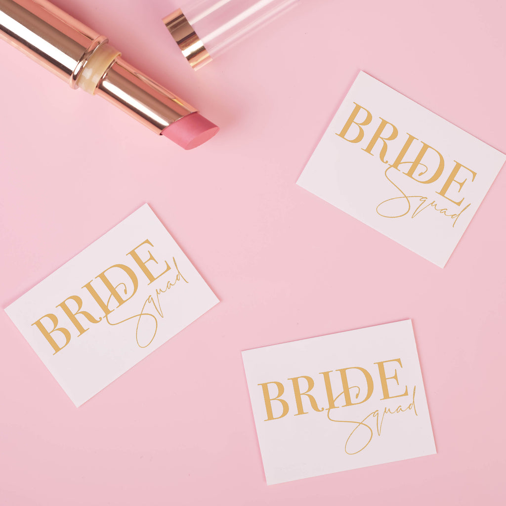 Bride Squad Gold Hen Party Tattoos