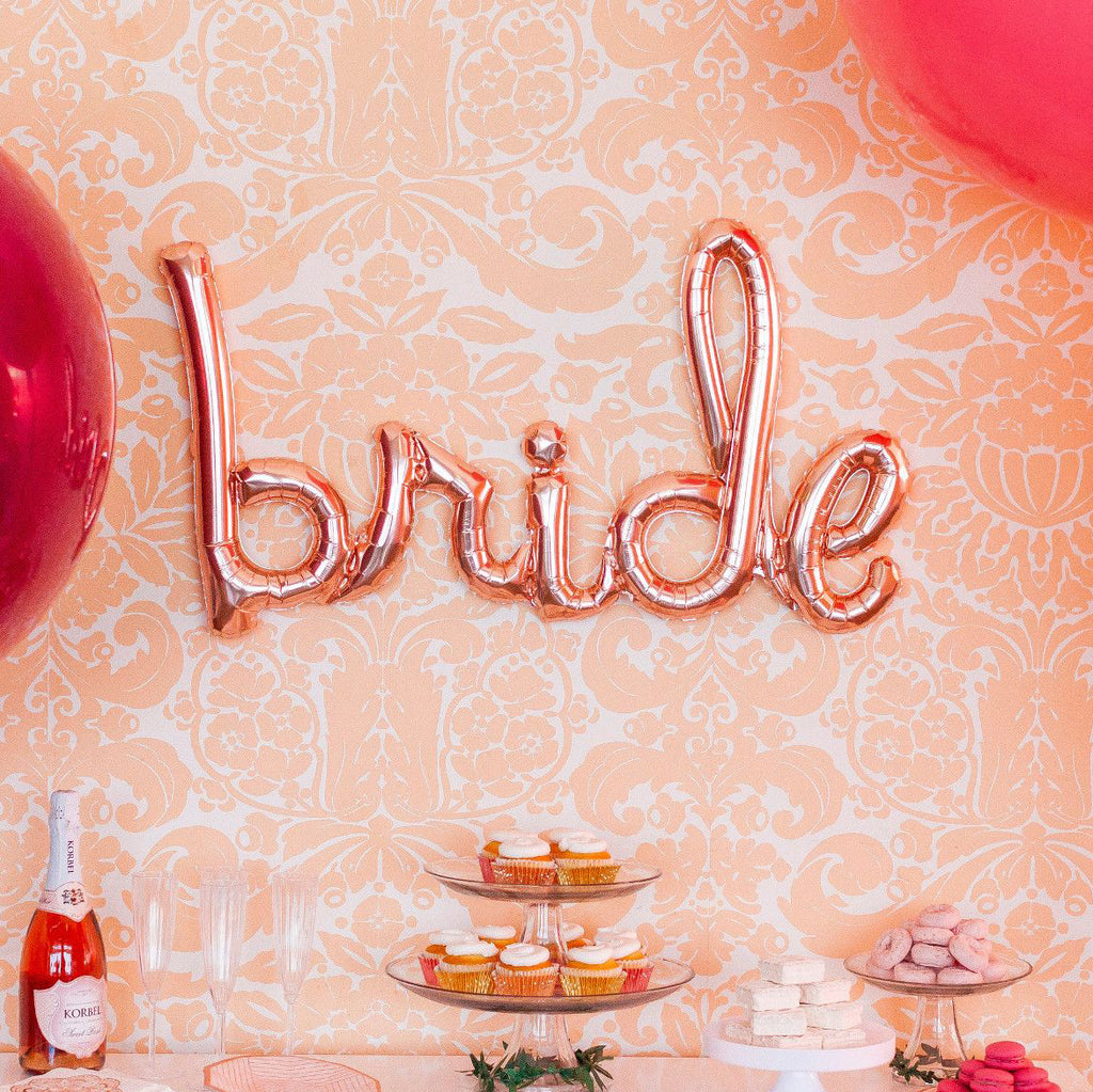 Bride Script Rose Gold Balloon