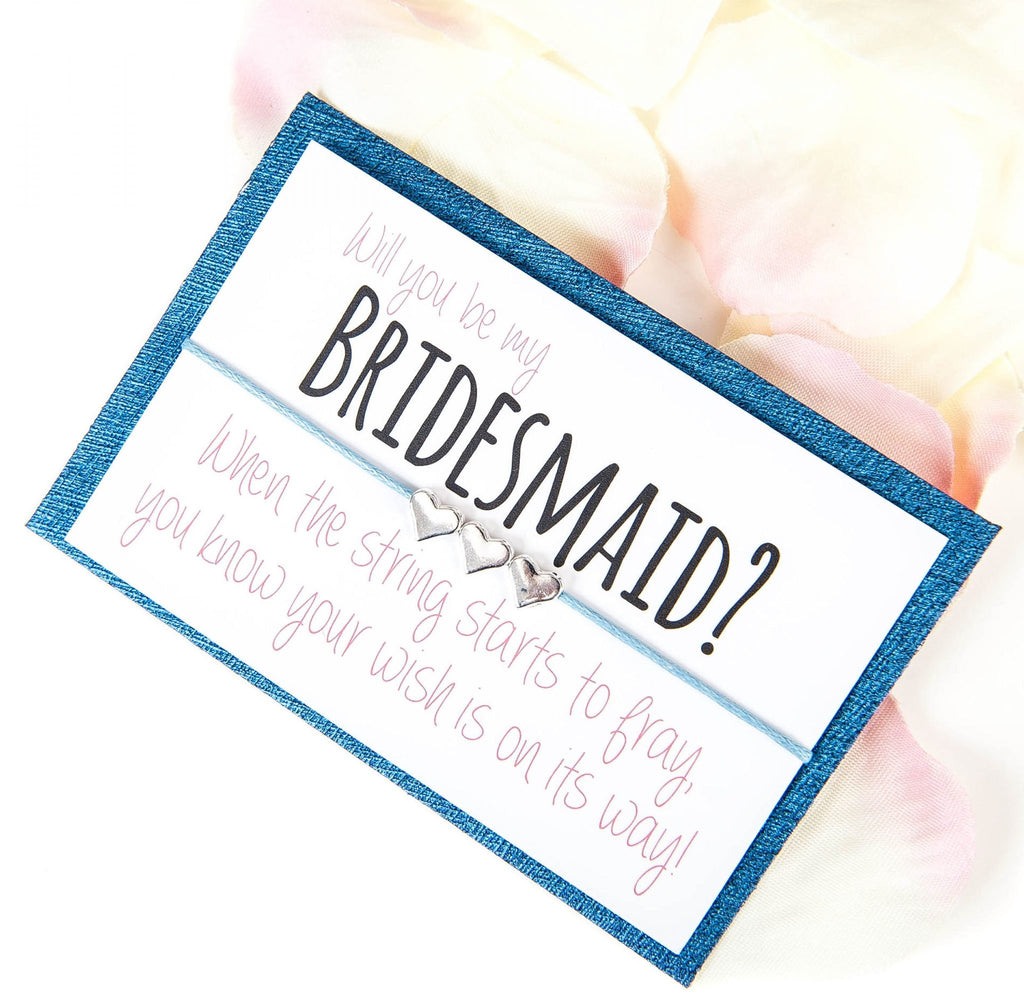 BLUE Will You Be My Bridesmaid Wish Bracelet