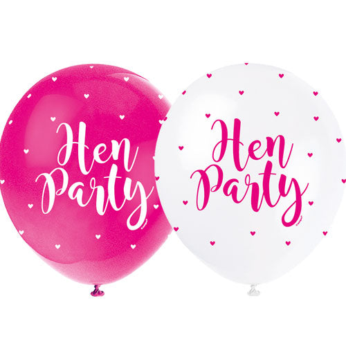 Pink & White Hen Party Balloons