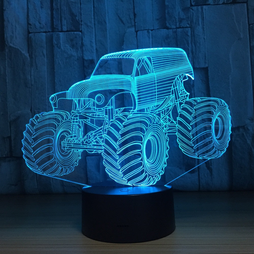 7-Kleurige 3D Monstertruck Auto Nachtlamp - Kindernachtlampjes.nl