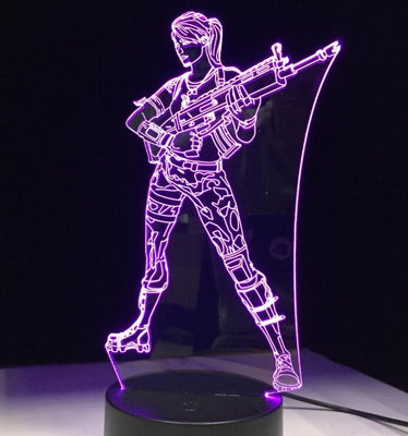 7-Kleurige 3D Fortnite Girl Nachtlamp - Kindernachtlampjes.nl