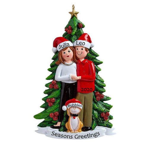 Personalised Christmas Ornament with Pets | Personalised Christmas Decoration Couple with Cat | WowWee.ie