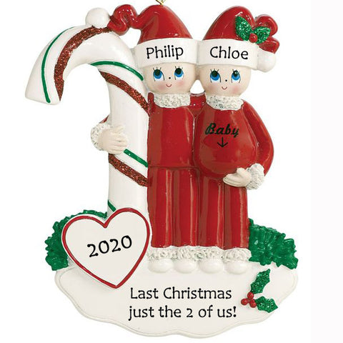 Personalised Christmas Ornament | Personalised Pregnant Couple Christmas Decoration | WowWee.ie
