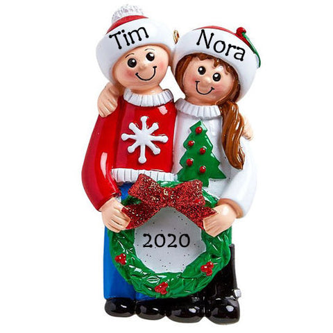 Personalised Christmas Ornaments for Couples | Personalised Christmas Decor for Happy Couple | WowWee.ie
