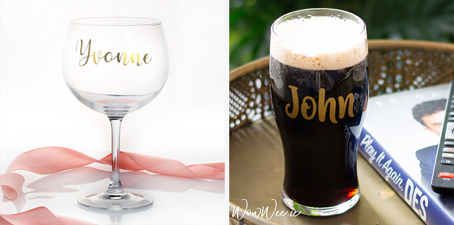 Personalised Valentine's Day Gifts | Personalised Valentine's Day at Home | Personalised Pint Glass for Valentine's Day  | Personalised Gin Glass | WowWee.ie