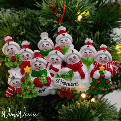 Personalised Christmas Ornament - Snow Family 10 People