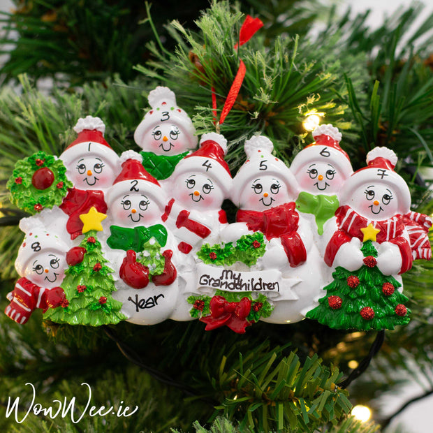 Personalised Christmas Ornament - Snow Family 8 People