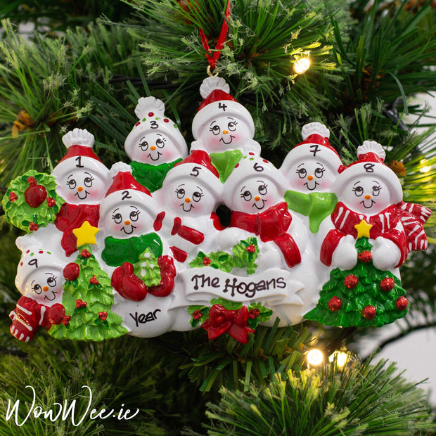 Personalised Christmas Ornament - Snow Family 9 People