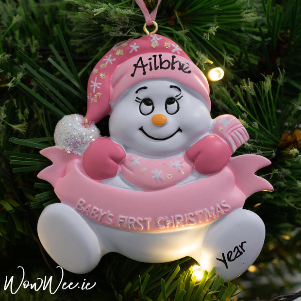 Personalised Baby's 1st Christmas Ornament - Pink Snowman with Banner