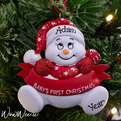Personalised Baby's 1st Christmas Ornament - Red Snowman with Banner