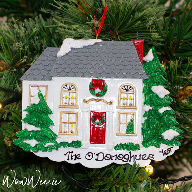 Personalised Christmas Ornament - Grey House - Order Now, Dispatched from October 15th