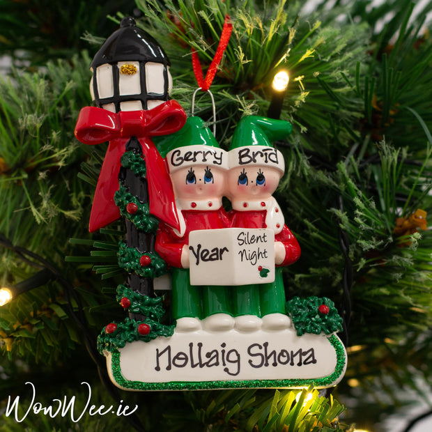 Personalised Christmas Ornament - Caroler Couple | Personalised Christmas Ornament for Couples | Personalised Christmas Tree Decorations | WowWee.ie