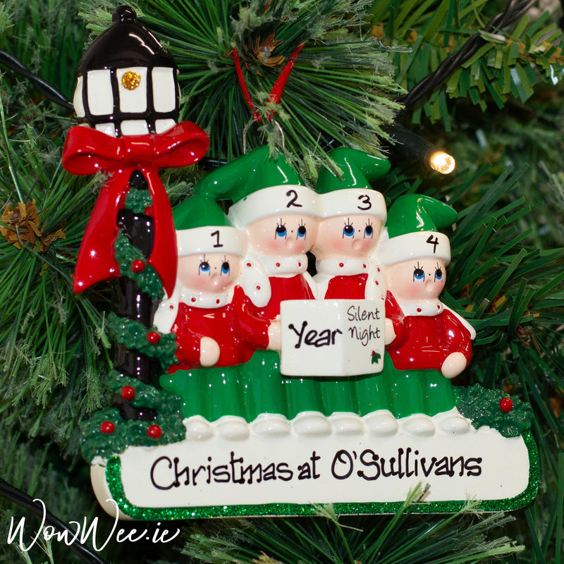 Personalised Christmas Ornament - Caroler Family 4 - WowWee.ie Personalised Gifts