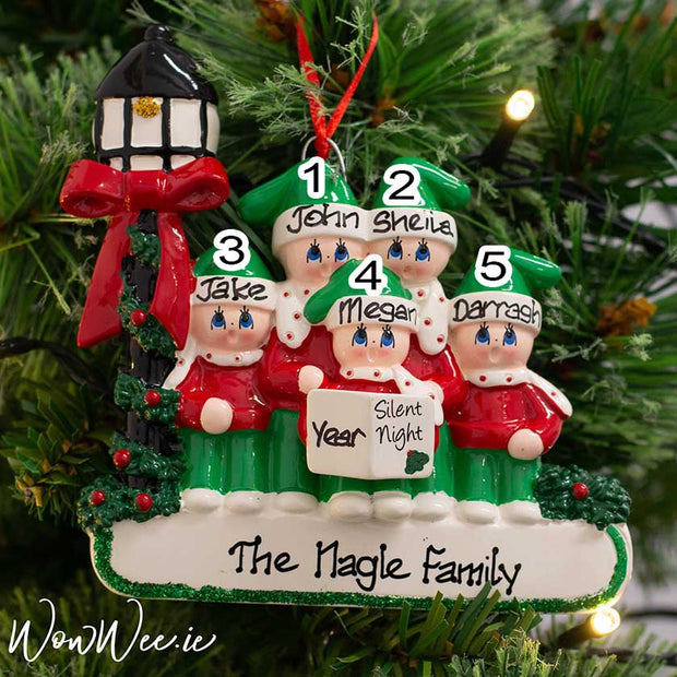 Personalised Christmas Ornament - Caroler Family 5 - WowWee.ie Personalised Gifts