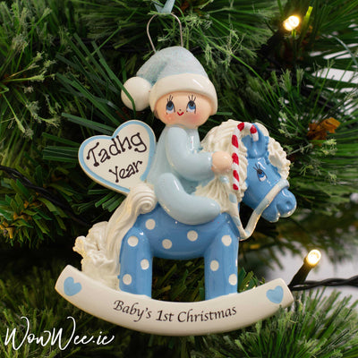 Personalised Blue Baby's 1st Christmas - Blue Rocking Horse DUE BACK IN STOCK SEPT 10TH 2019