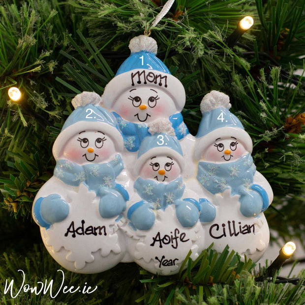 Personalised Snowman Christmas Ornament - Parent/Grandparent +3 Children