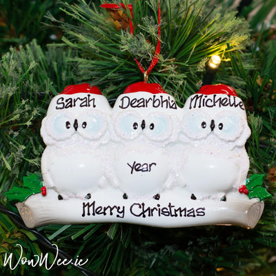 Personalised Christmas Ornament - Wise Owl Family 3