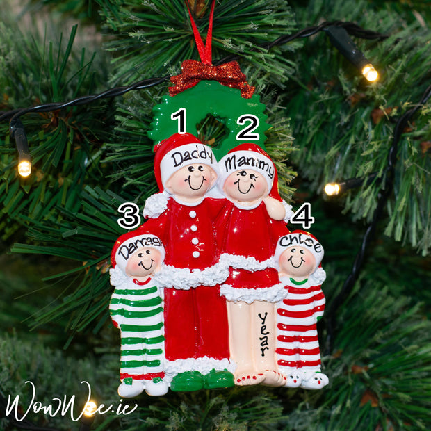 Personalised Snowman Christmas Ornament - Christmas Eve Family 4