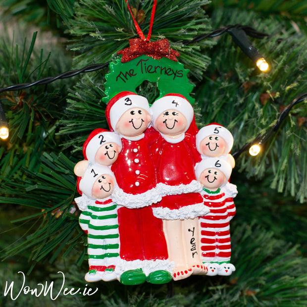 Personalised Christmas Tree Decoration - Christmas Eve Family of 6