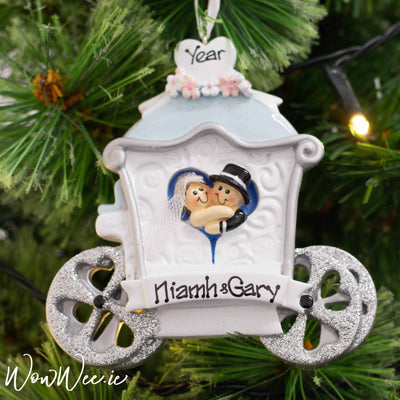 Personalised Christmas Ornament - Wedding Carriage