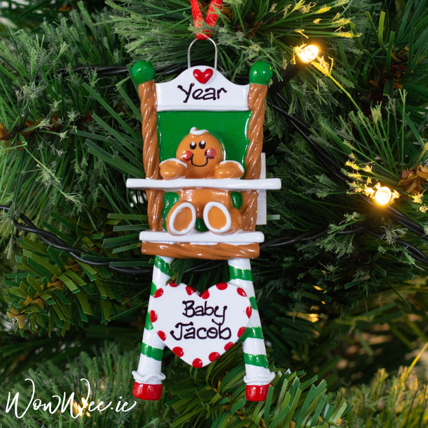 Personalised Christmas Ornament with names and dates for babys and little children to enjoy hanging on the Christmas Tree each year.