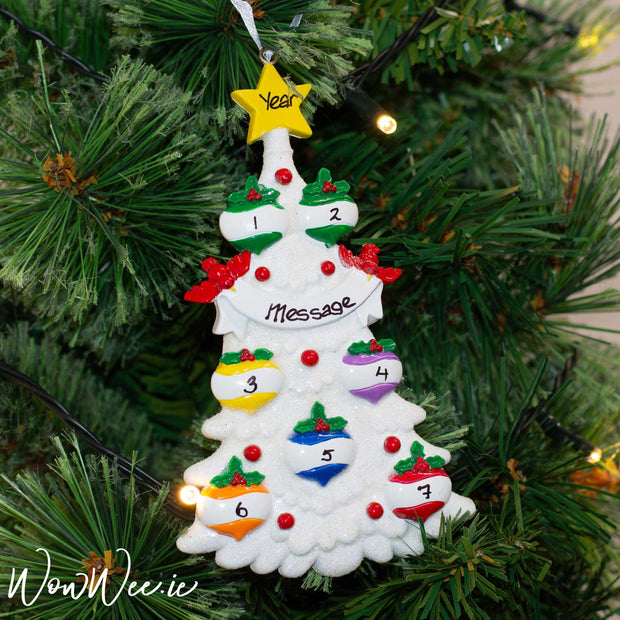 Personalised Christmas Ornament - White Tree 7