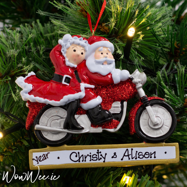 Personalised Christmas Ornament - Santa Couple on Motorbike