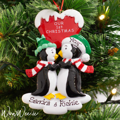 Personalised Christmas Ornament - Our First Christmas Penguin Kisses | Personalised Christmas Tree Decorations for Couples | Personalised Christmas Gifts | WowWee.ie