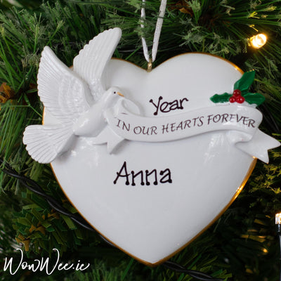 Personalised Christmas Ornament - In Our Hearts Forever with Holly