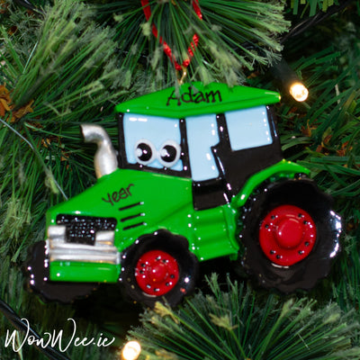 Personalised Christmas Ornament - Green Tractor