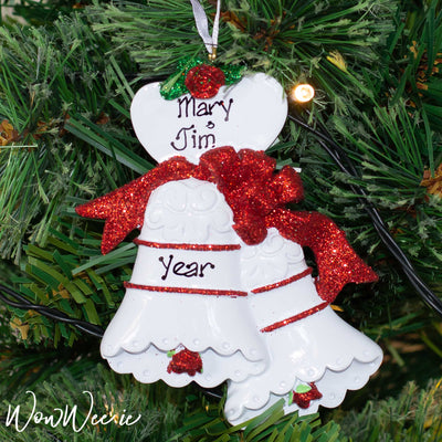 Personalised Christmas Ornaments - Christmas Bells | Personalised Christmas Ornaments for Couples | Personalised Christmas Tree Decorations | WowWee.ie