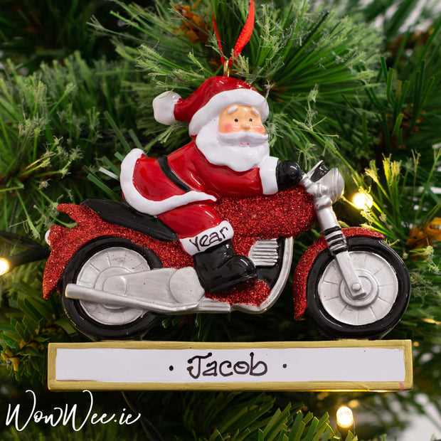 Personalised Christmas Ornament - Santa on Motorbike