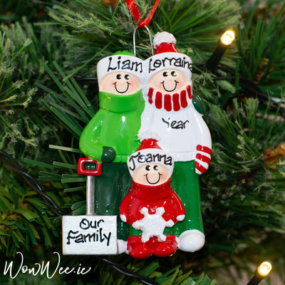 Personalised Tree Decorations - Snow Shovel Family 3
