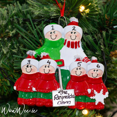 Personalised Christmas Ornaments - Snow Shovel Family 6