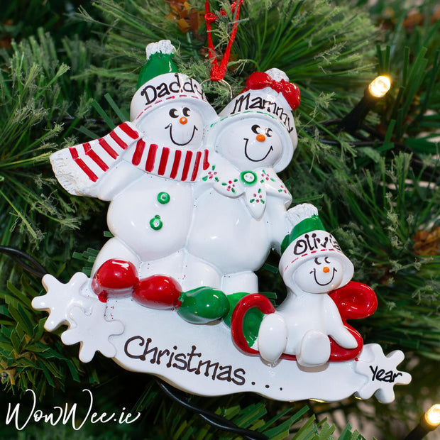 Personalised Christmas Tree Decorations - Snowman Sled 3 - WowWee.ie Personalised Gifts