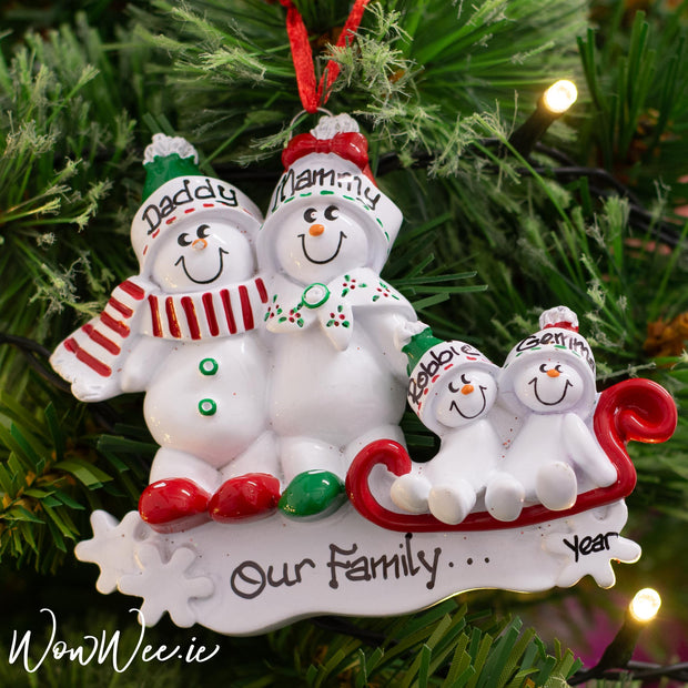 Personalised Christmas Decorations - Snowman Sled 4